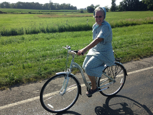 Greg took this shot of JoAnn, riding home from the hardware store with a gallon of paint